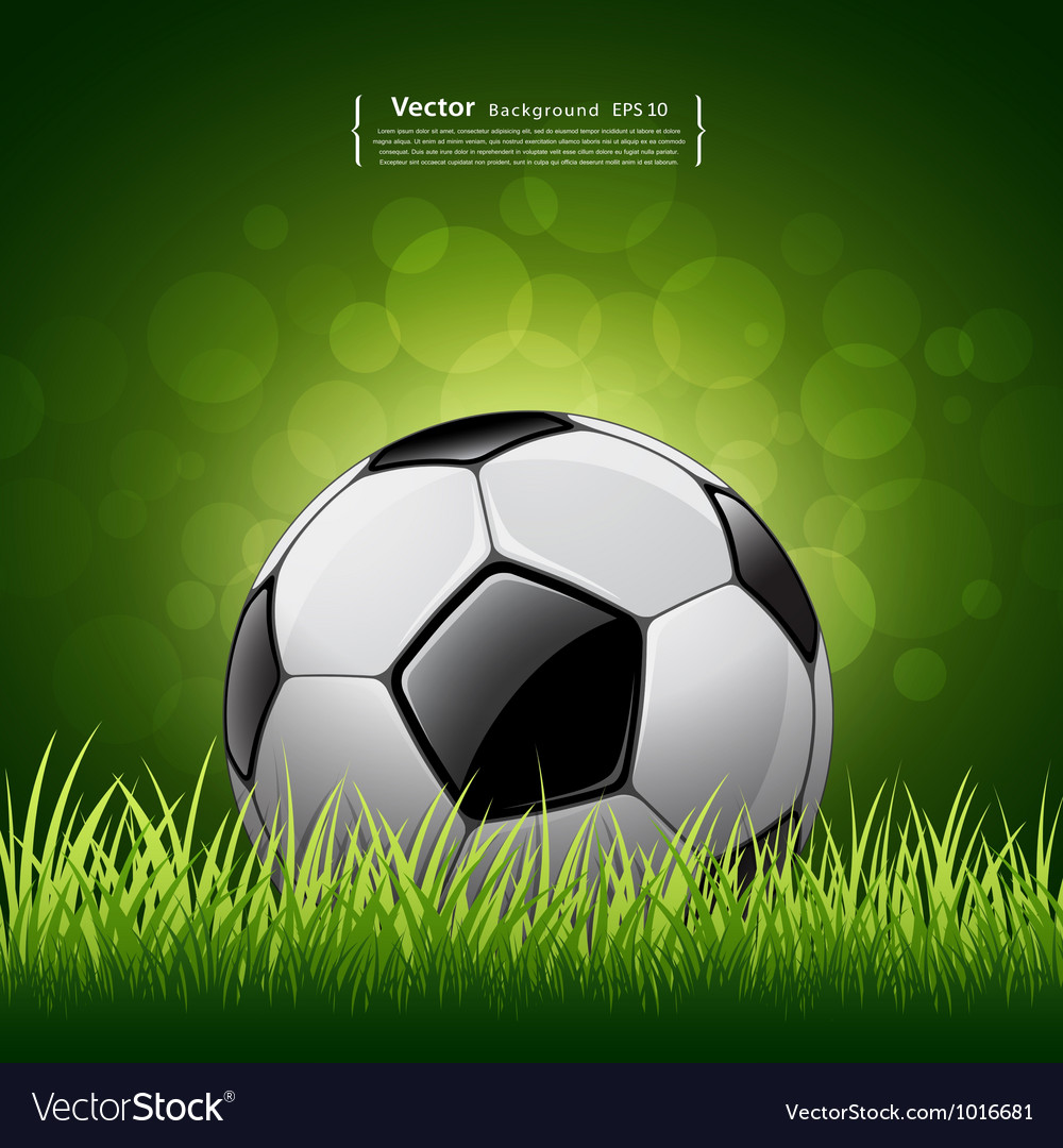 Soccer ball on grass background vector | Price: 3 Credit (USD $3)