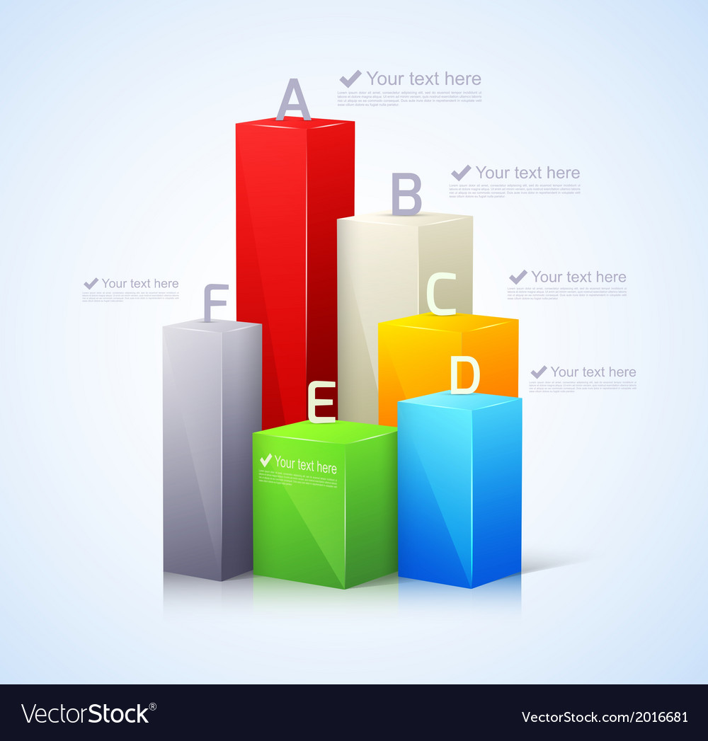 Template for infographic with 3d bar vector | Price: 1 Credit (USD $1)