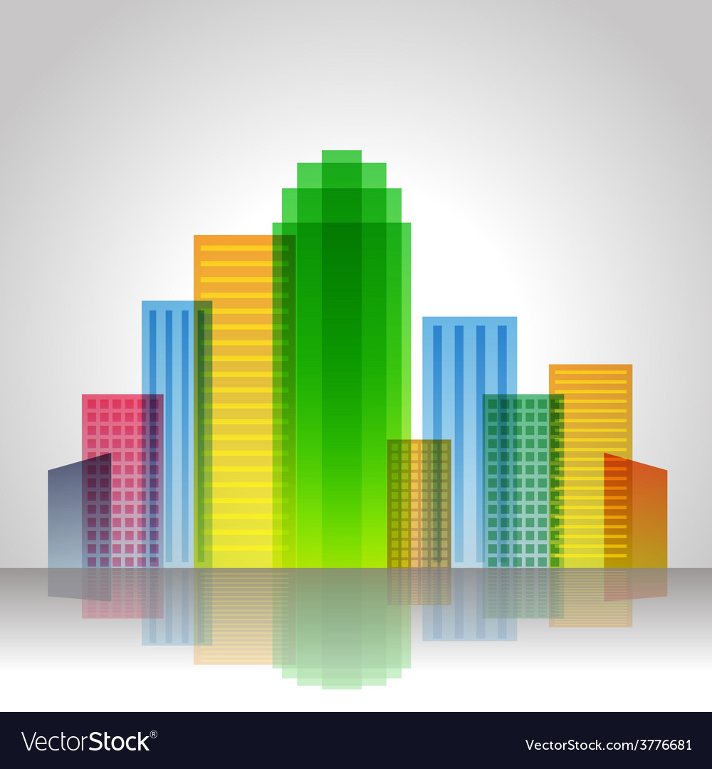 Urban city color vector | Price: 1 Credit (USD $1)