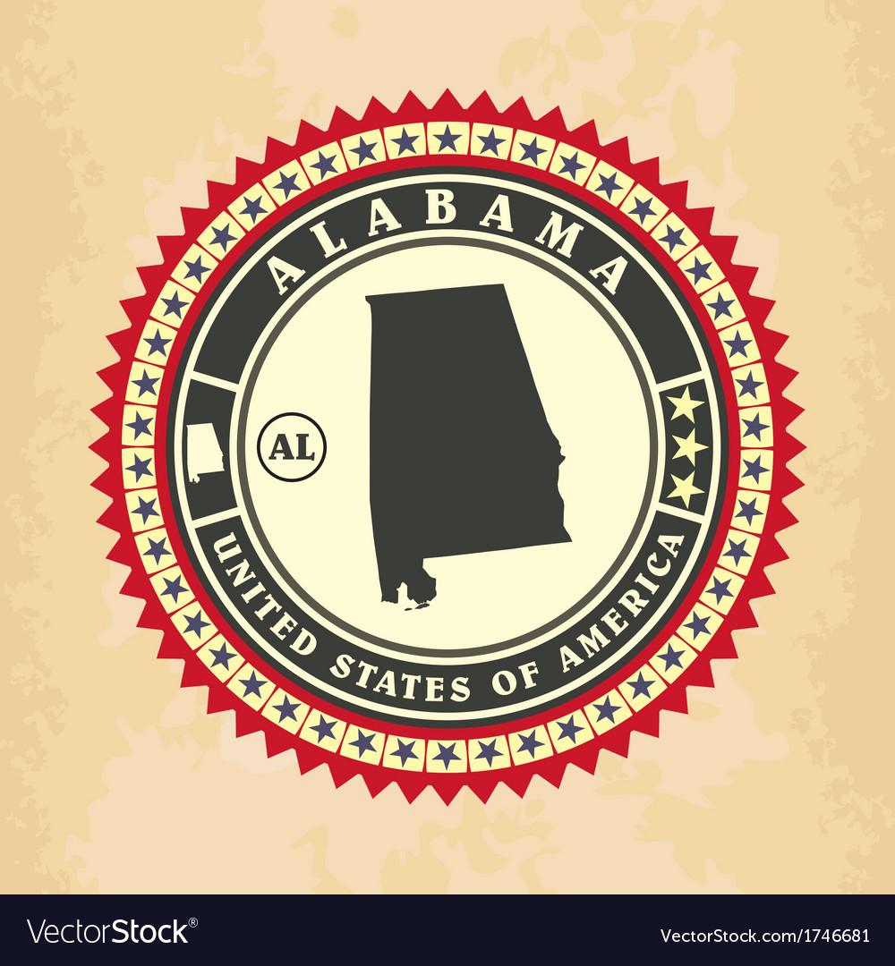 Vintage label-sticker cards of alabama vector | Price: 1 Credit (USD $1)