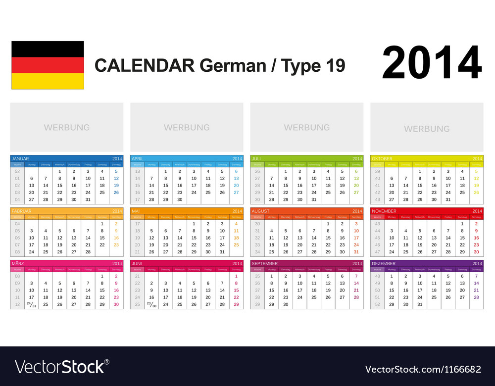 Calendar 2014 german type 19 vector | Price: 1 Credit (USD $1)