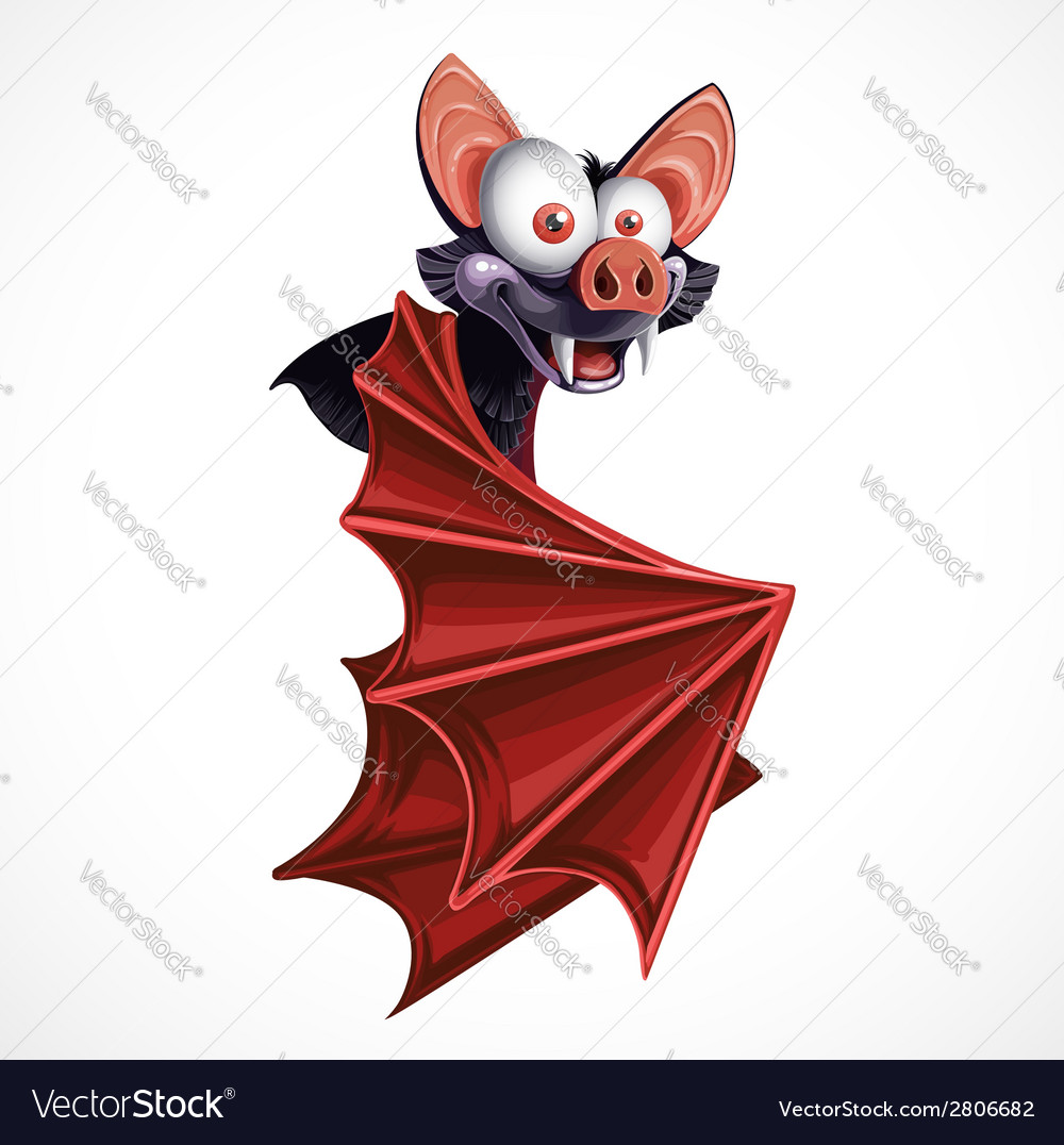 Cute cartoon flying bat isolated on white vector | Price: 3 Credit (USD $3)