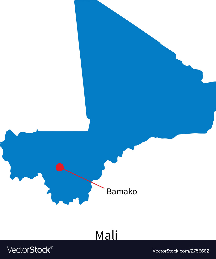 Detailed map of mali and capital city bamako vector | Price: 1 Credit (USD $1)