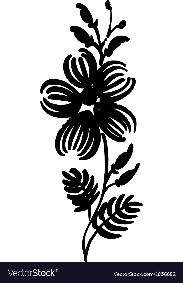 Floral decorative silhouette vector | Price: 1 Credit (USD $1)
