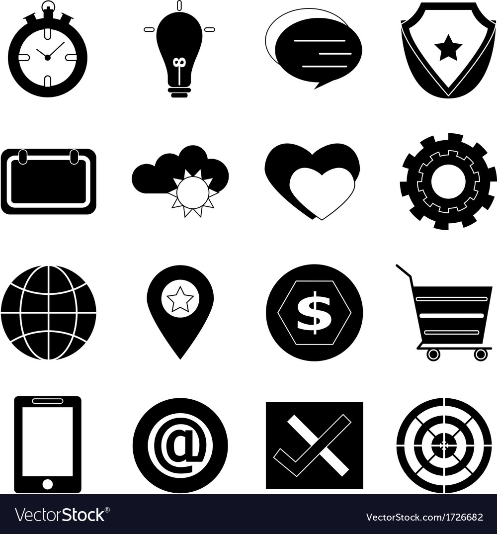 General icons on white background vector | Price: 1 Credit (USD $1)