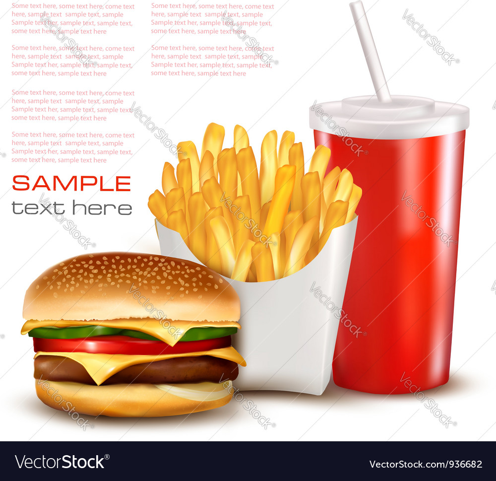 Hamburger with drink and chips vector | Price: 3 Credit (USD $3)
