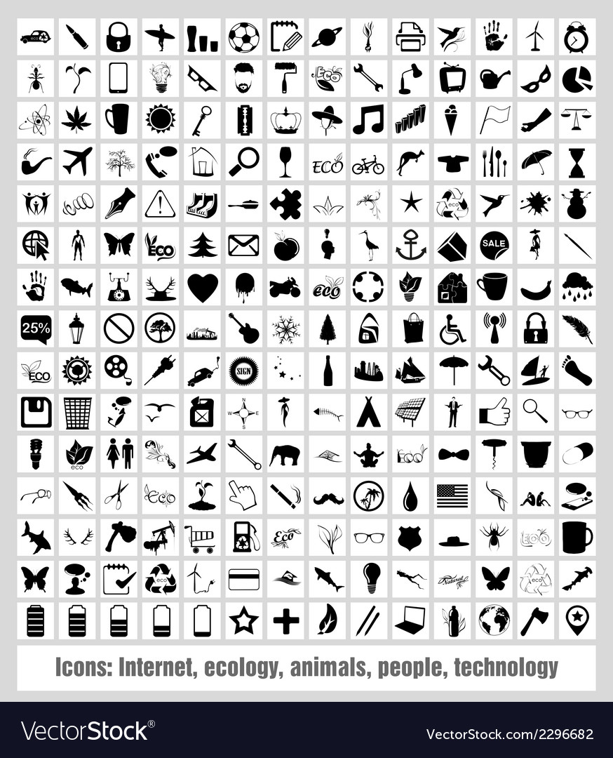 Icons - internet ecology animals people technology vector | Price: 1 Credit (USD $1)