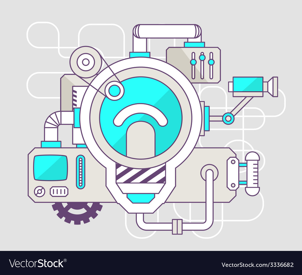 Industrial of the mechanism of light bulb c vector | Price: 1 Credit (USD $1)