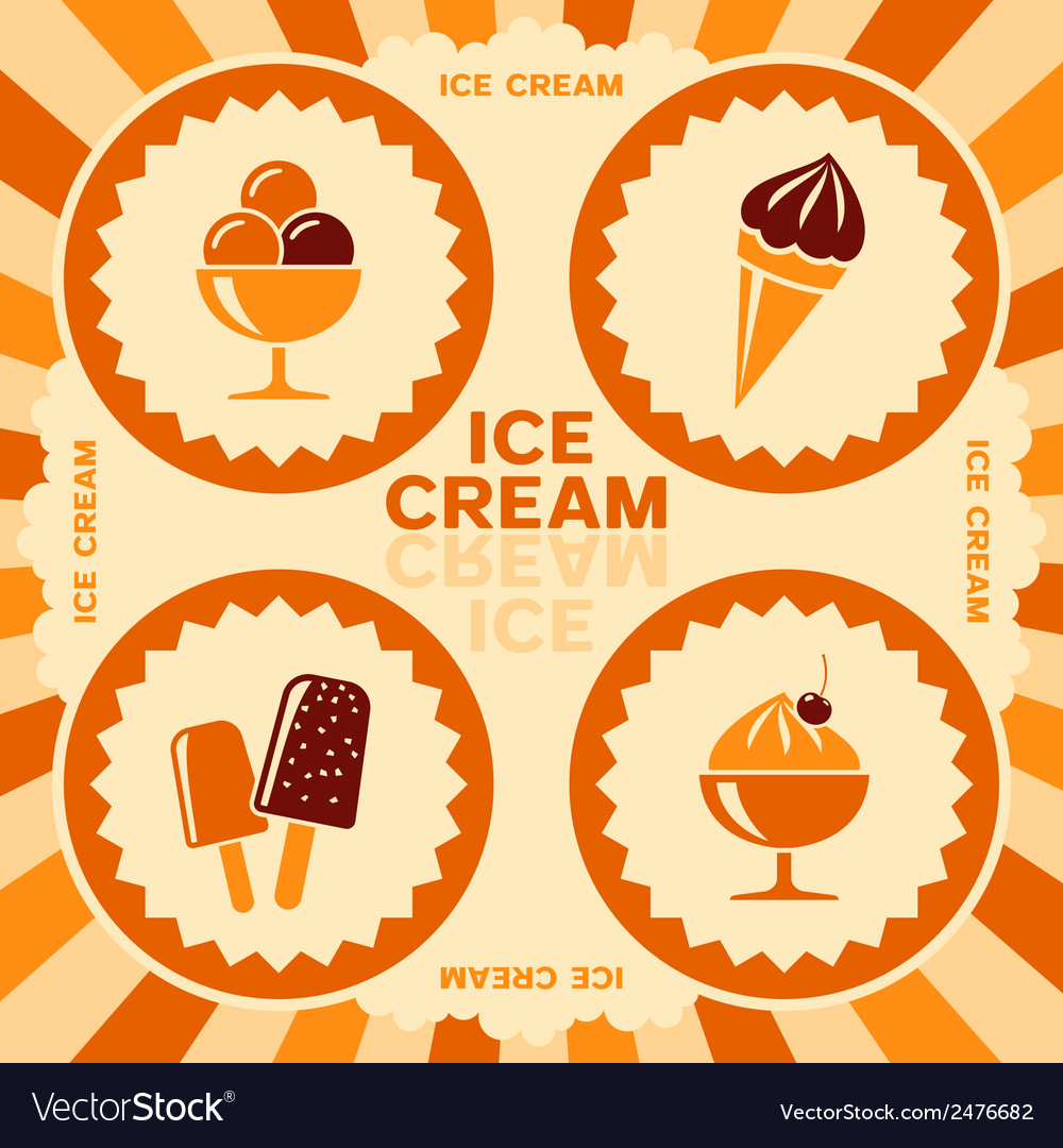 Label design with ice cream icons vector | Price: 1 Credit (USD $1)