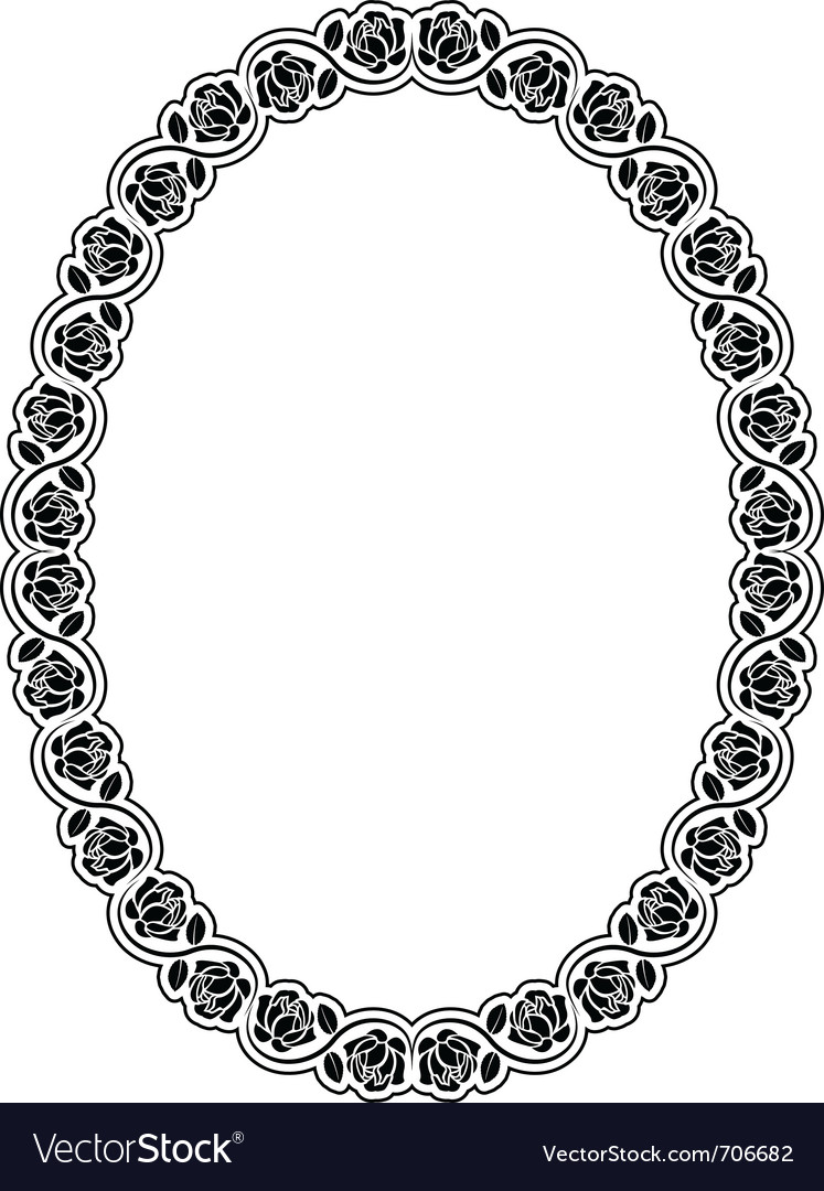Oval frame with roses vector | Price: 1 Credit (USD $1)