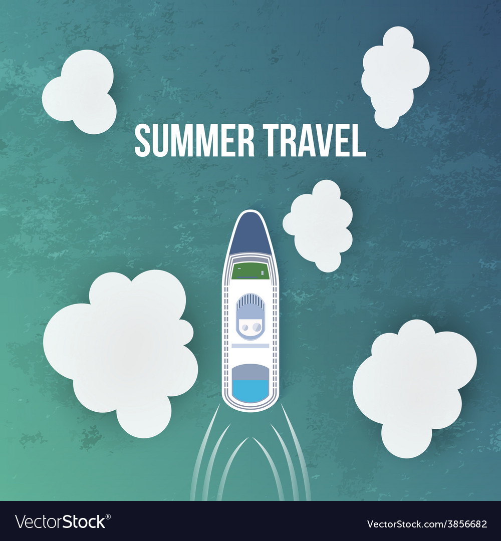Summer travel background with cruise liner vector | Price: 1 Credit (USD $1)