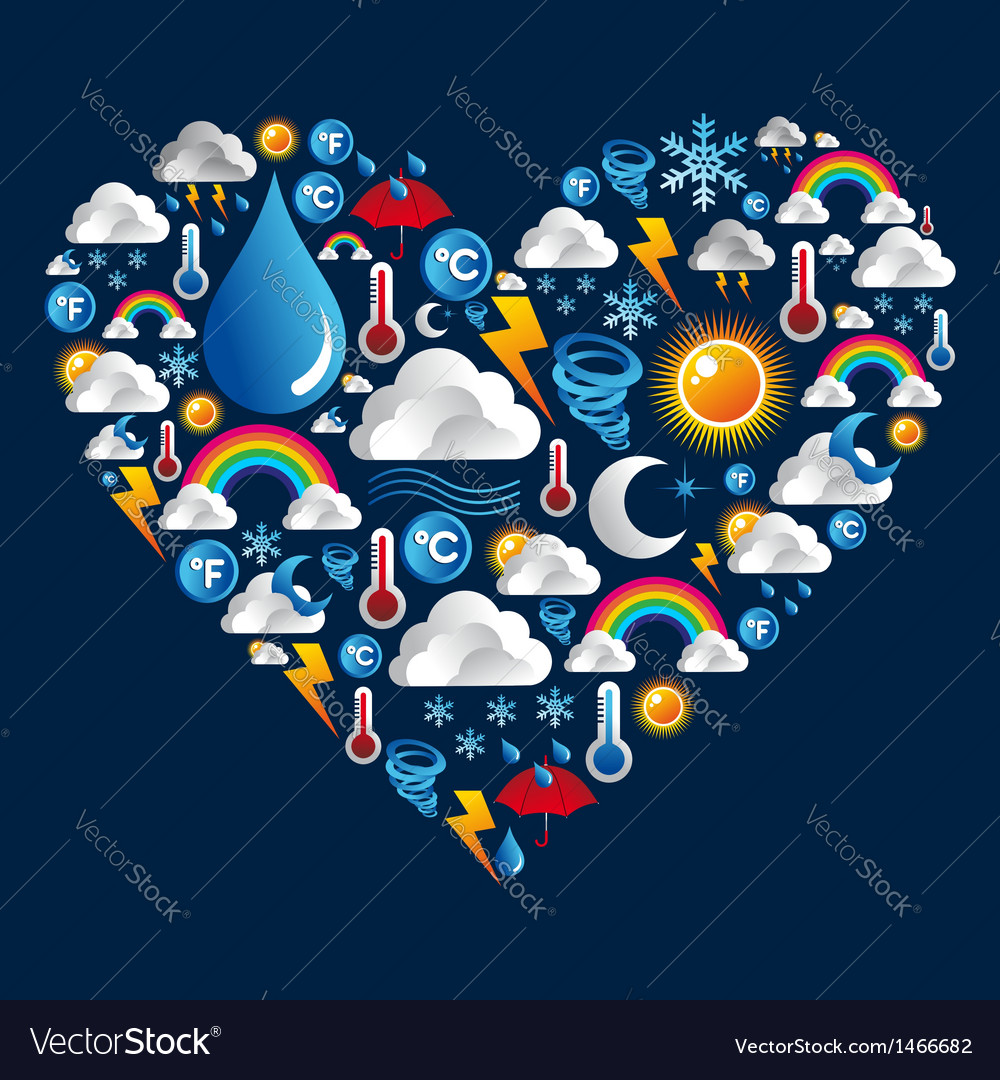 Weather icons heart shape vector | Price: 1 Credit (USD $1)