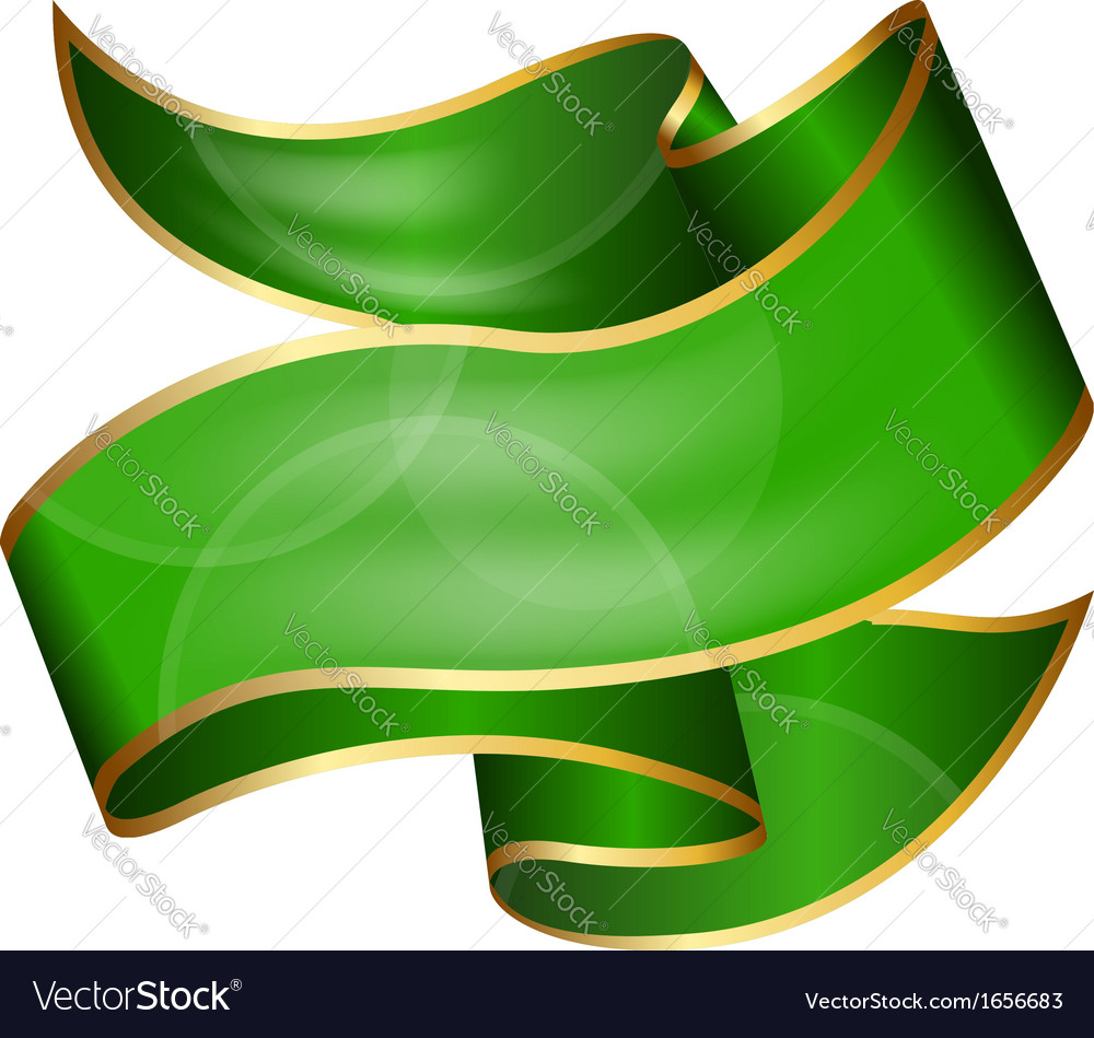 Big green ribbon isolated on white background vector | Price: 1 Credit (USD $1)