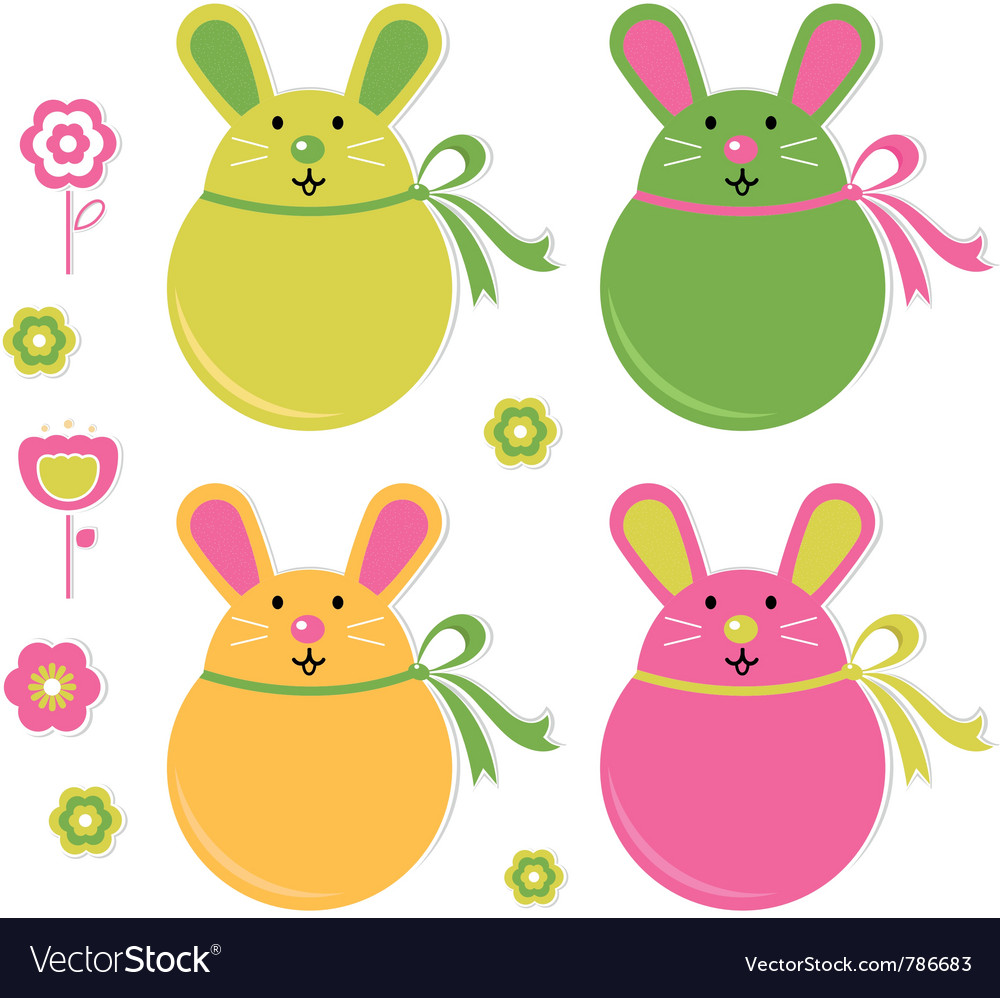 Easter bunny stickers vector | Price: 1 Credit (USD $1)