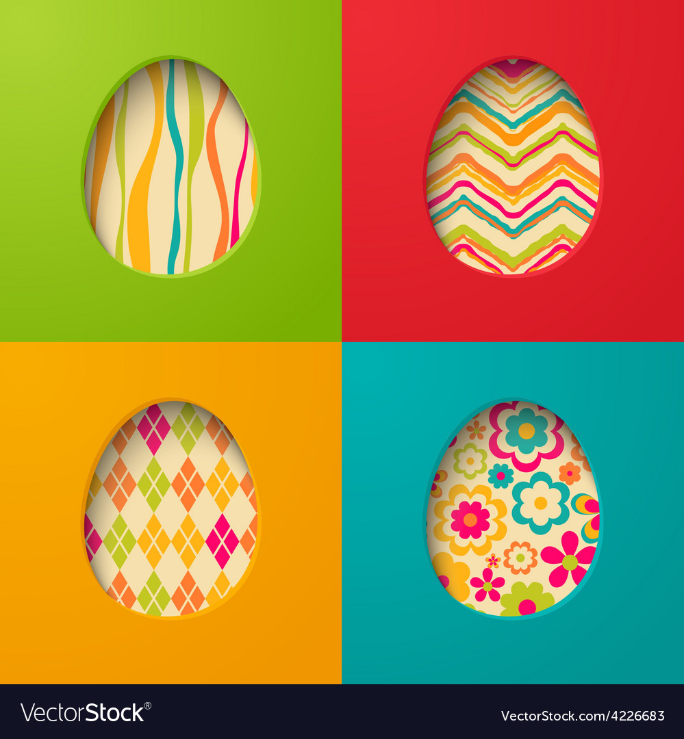 Easter paper cards with egg vector | Price: 1 Credit (USD $1)