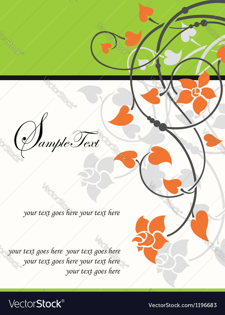 Floral invitation card vector | Price: 1 Credit (USD $1)