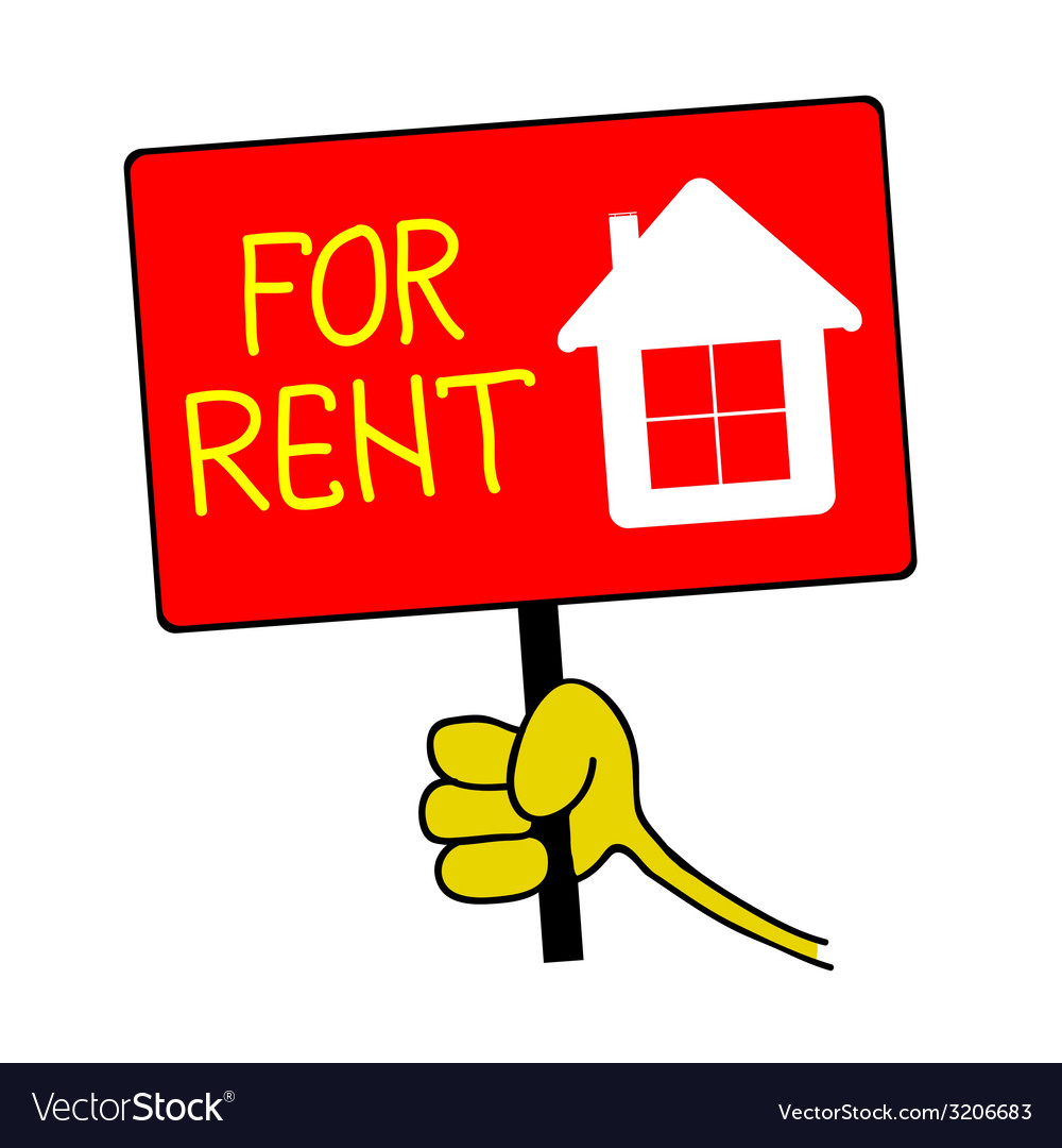 Hand holding a sign with a message for rent vector | Price: 1 Credit (USD $1)