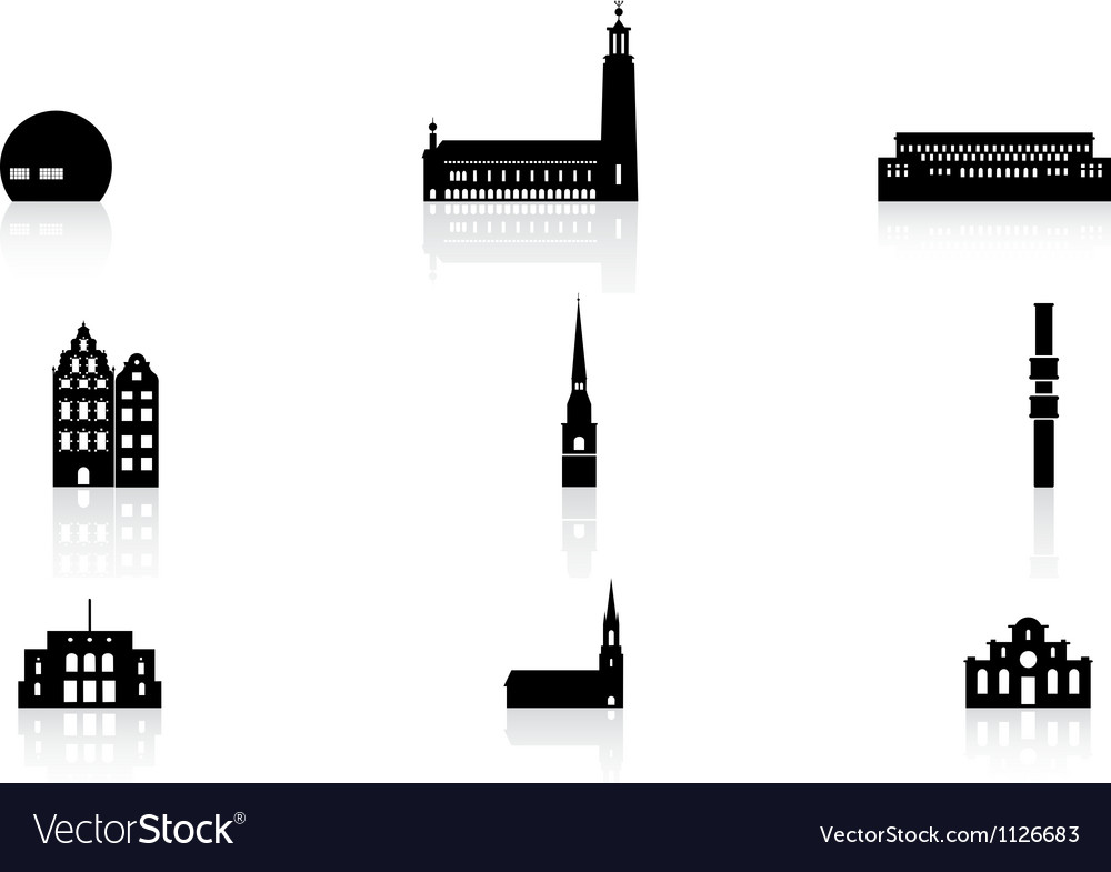 Landmark icons - stockholm vector | Price: 1 Credit (USD $1)