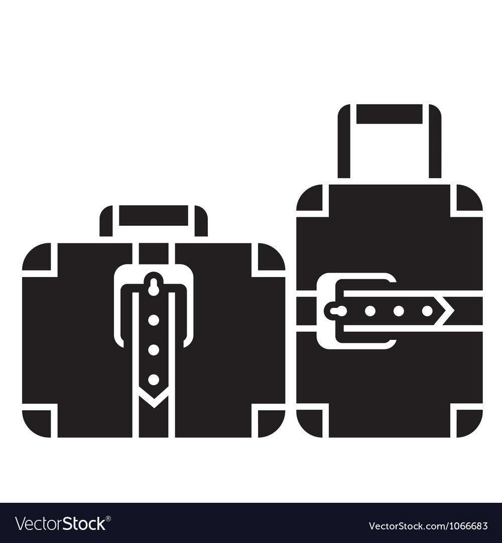 Suitcases black and white icon sign vector | Price: 1 Credit (USD $1)