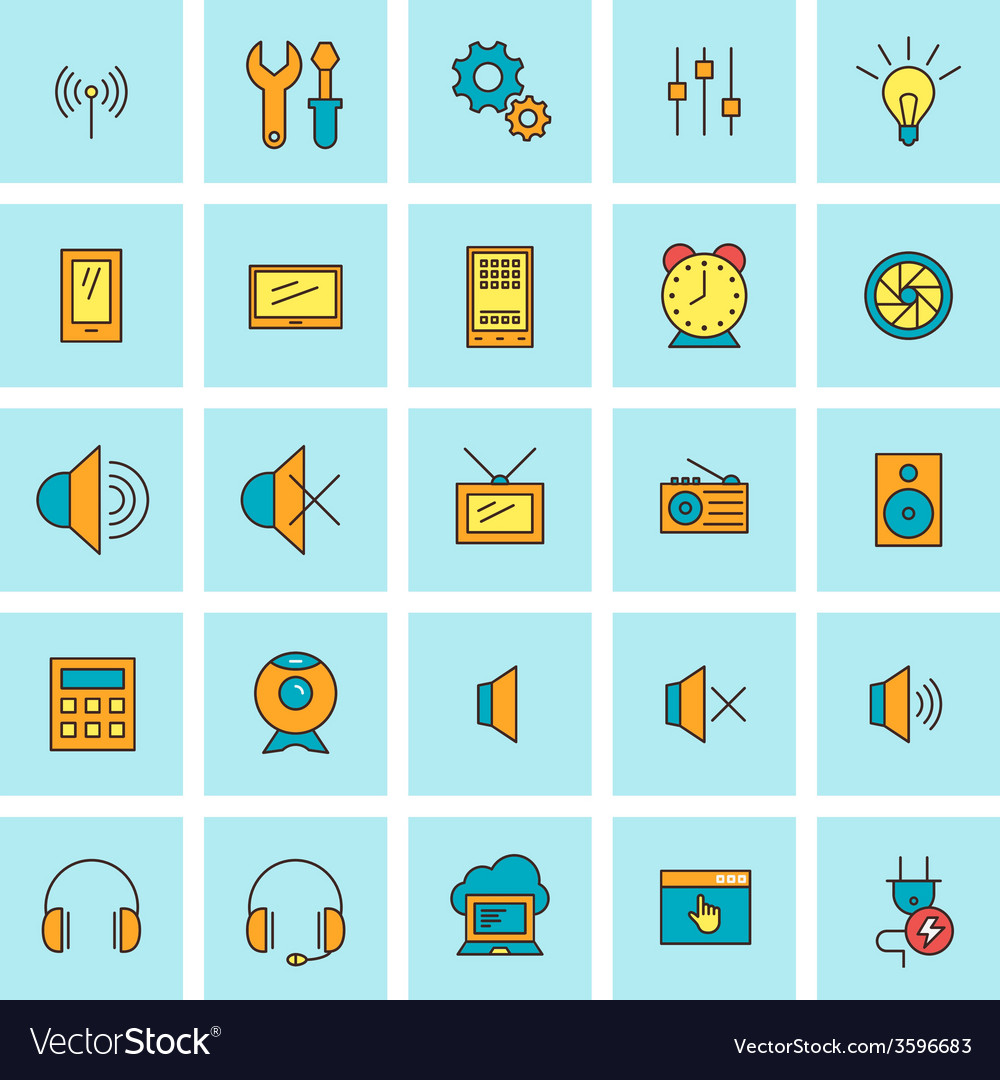 Technology and electronic devices icon set in flat vector   Price: 1 Credit (USD $1)