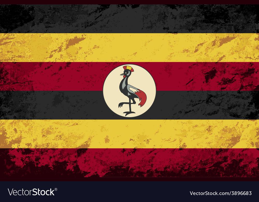 Ugandan flag grunge background vector | Price: 1 Credit (USD $1)