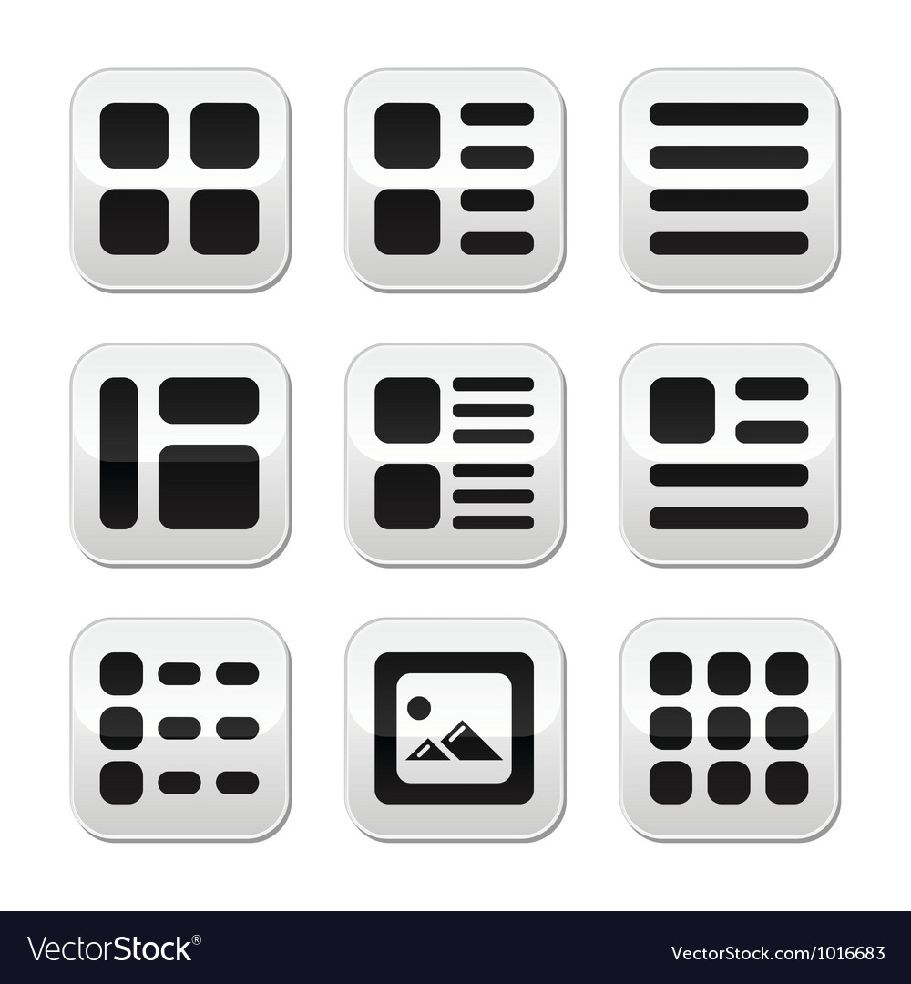 Website gallery view display options buttons set vector | Price: 1 Credit (USD $1)