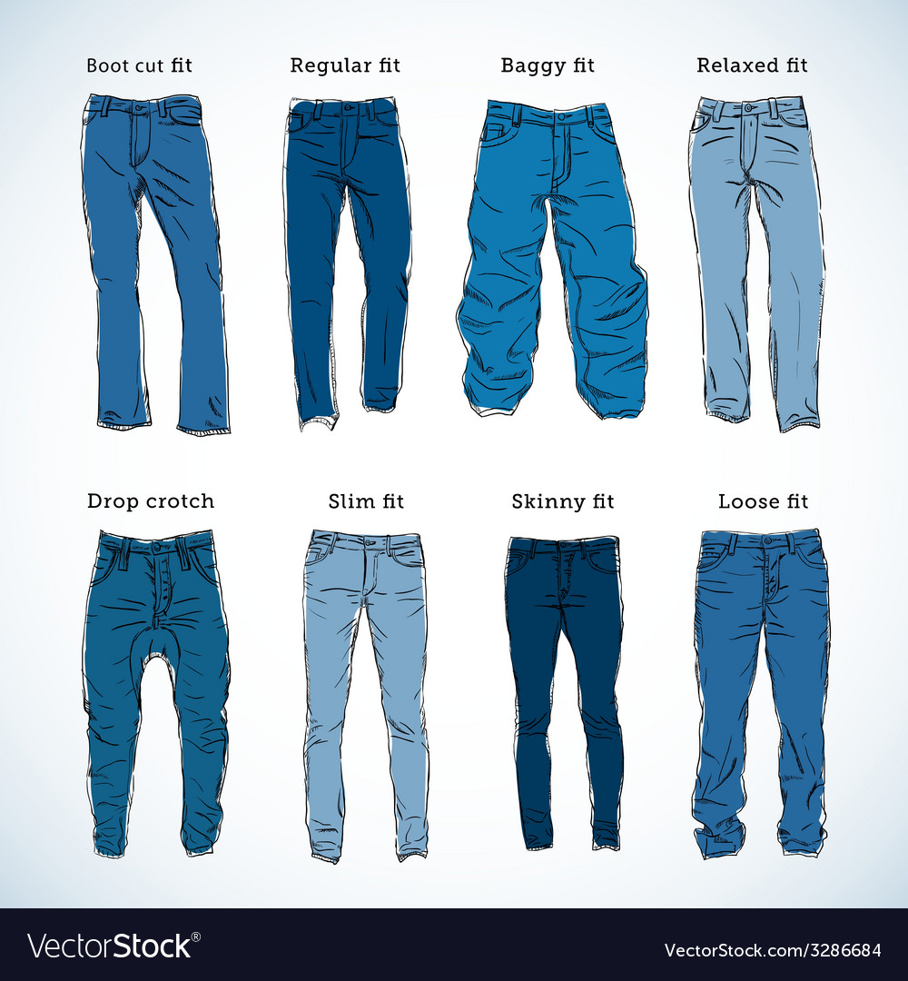 Denim fit hand drawn set vector | Price: 1 Credit (USD $1)