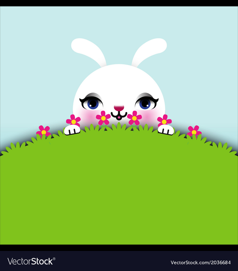 Easter bunny sitting in grass vector | Price: 1 Credit (USD $1)