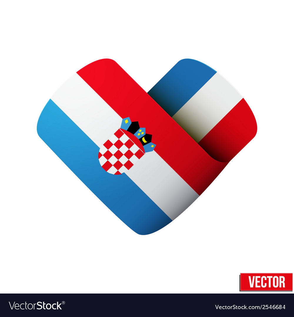 Flag icon in the form of heart i love croatia vector | Price: 1 Credit (USD $1)