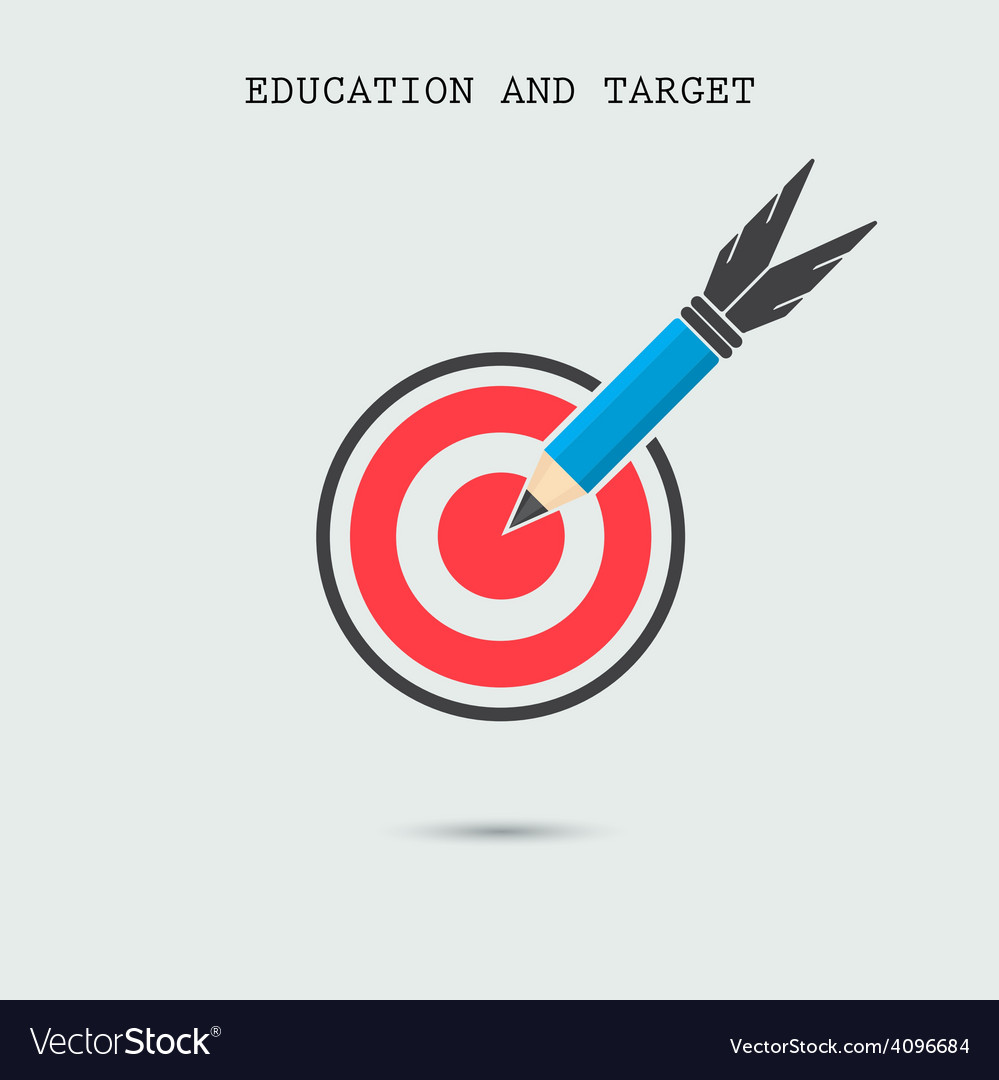 Pencil with target symbol on background vector | Price: 1 Credit (USD $1)