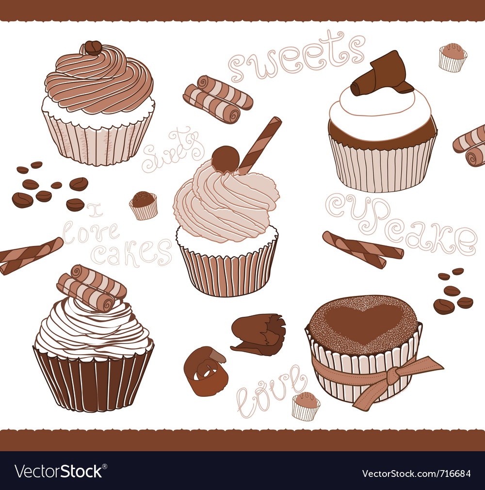 Set of cute cupcakes for design vector | Price: 1 Credit (USD $1)
