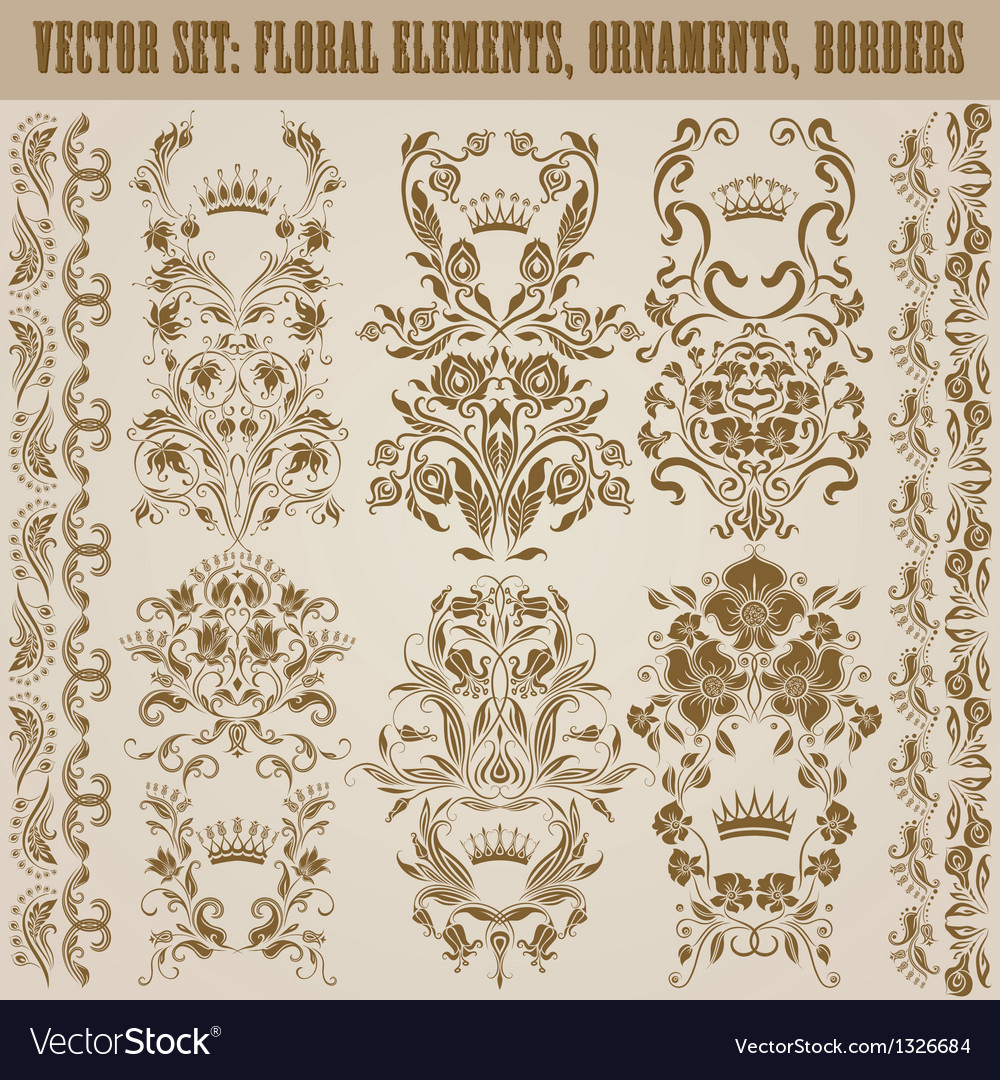 Set of damask ornaments vector   Price: 1 Credit (USD $1)