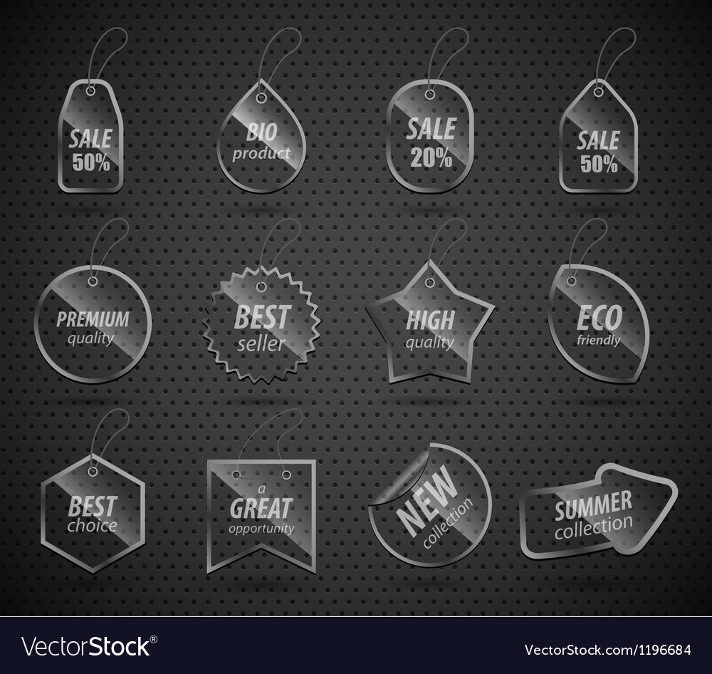 Set of design glass elements with place for vector | Price: 1 Credit (USD $1)