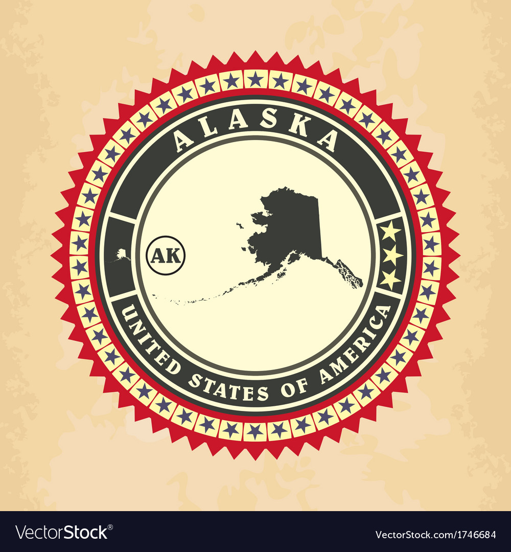 Vintage label-sticker cards of alaska vector | Price: 1 Credit (USD $1)