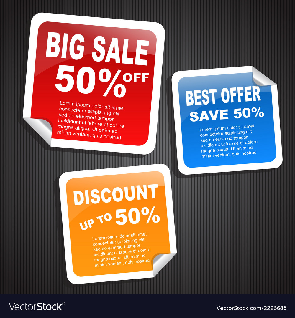 Discount paper labels vector | Price: 1 Credit (USD $1)