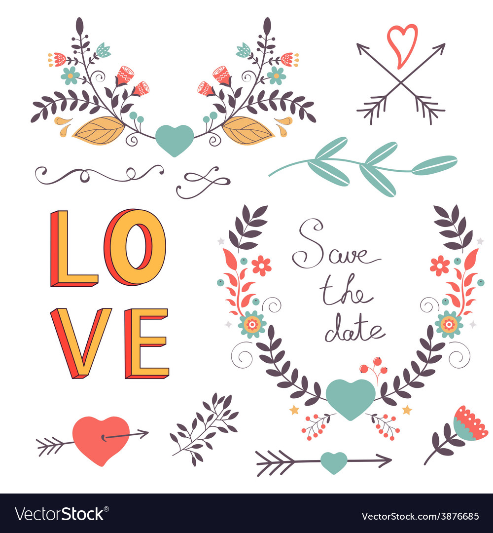 Elegant collection of romantic graphic elements vector | Price: 1 Credit (USD $1)
