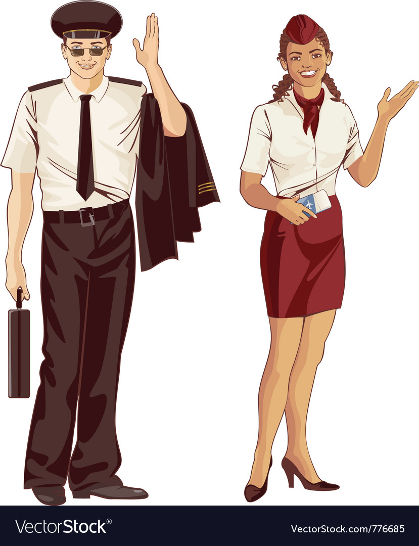 Flight attendant and pilot vector | Price: 5 Credit (USD $5)