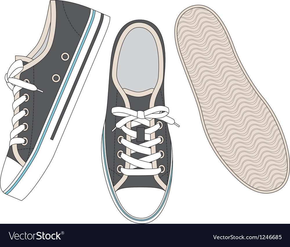Grey sneakers vector | Price: 1 Credit (USD $1)