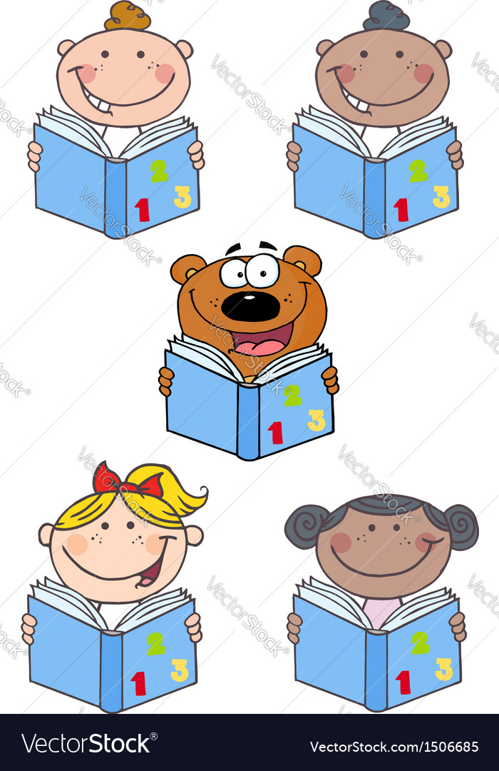 Kids and bear reading a book- collection vector | Price: 3 Credit (USD $3)