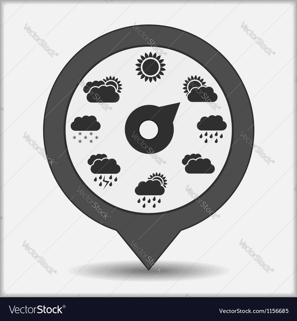 Map marker with weather indicator vector   Price: 1 Credit (USD $1)