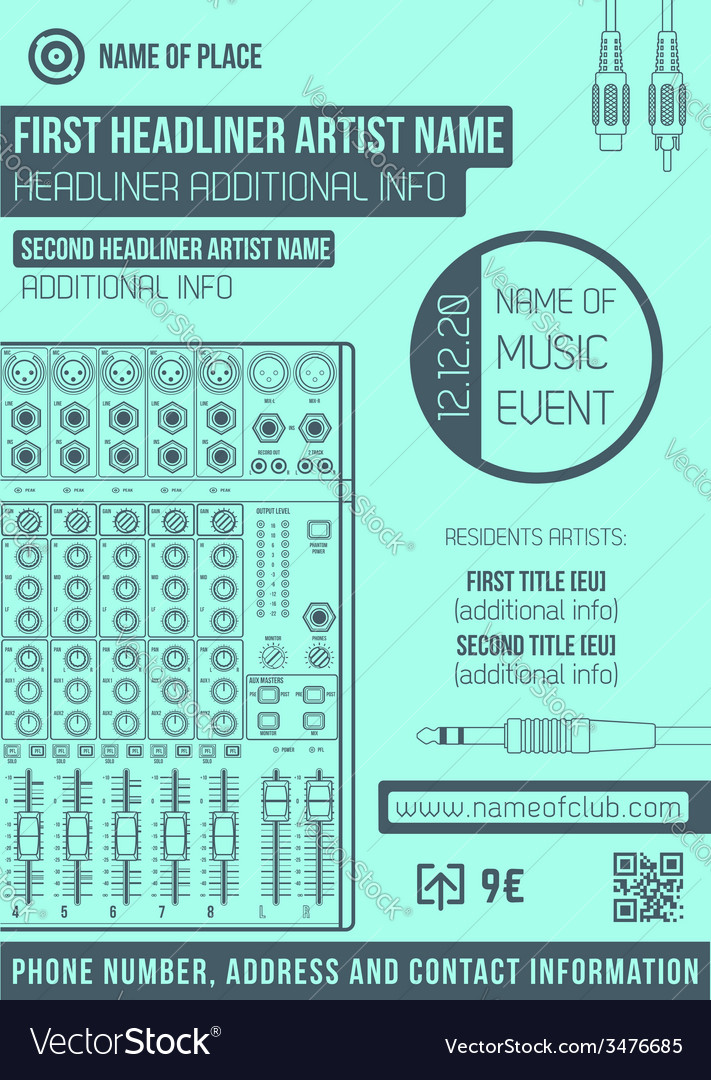 Minimal design night party flyer template with big vector | Price: 1 Credit (USD $1)
