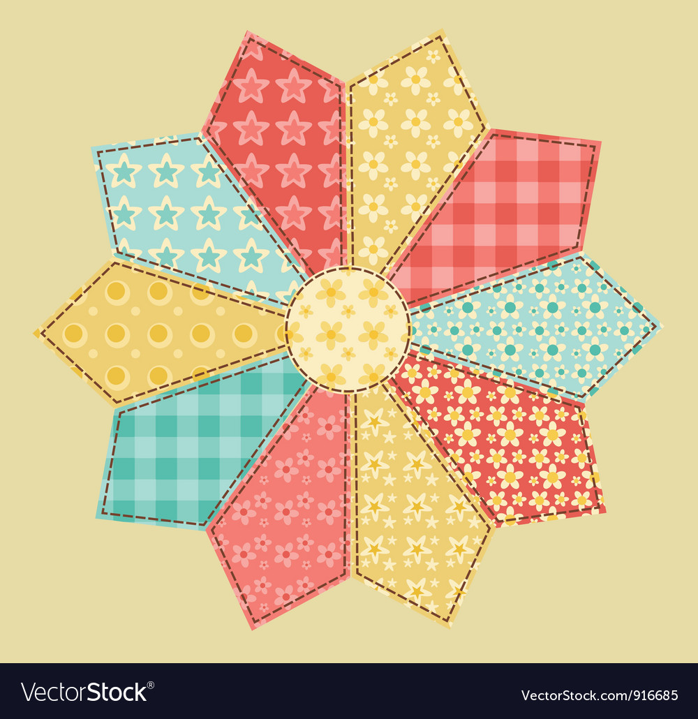 Patchwork abstract flower vector | Price: 1 Credit (USD $1)