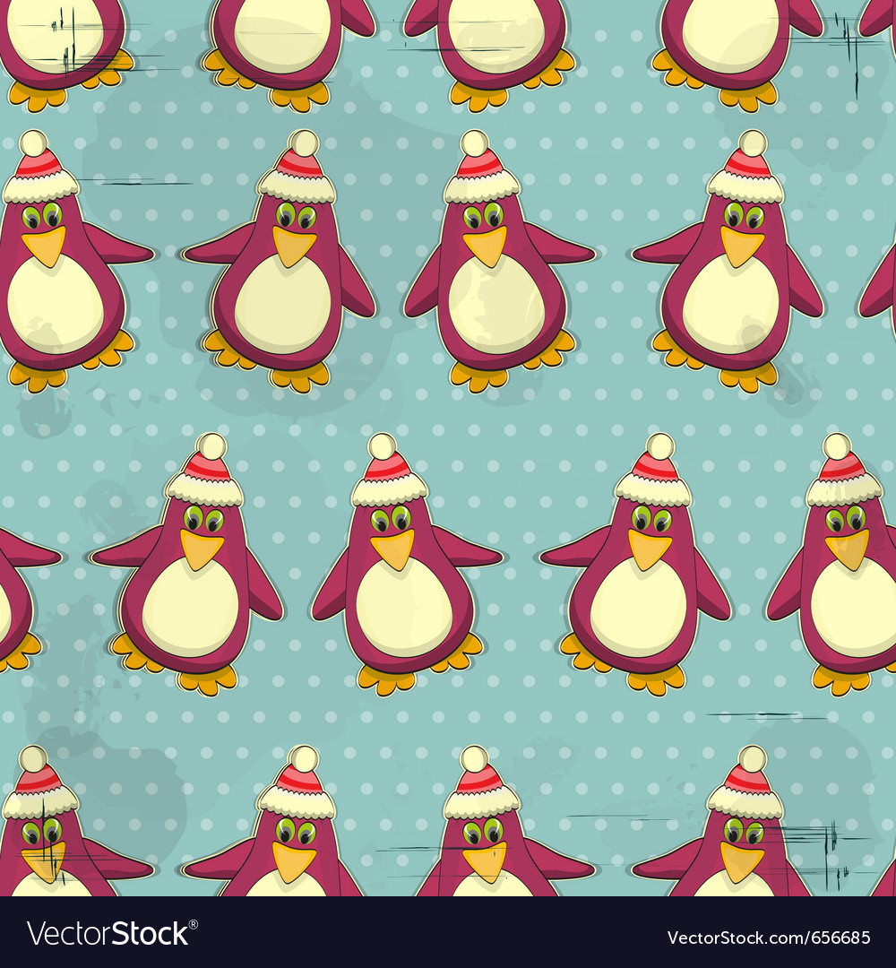 Seamless christmas penguin pattern vector | Price: 1 Credit (USD $1)
