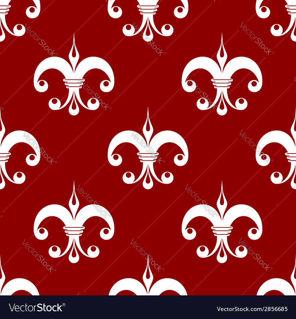 Seamless fleur-de-lis royal white pattern vector | Price: 1 Credit (USD $1)