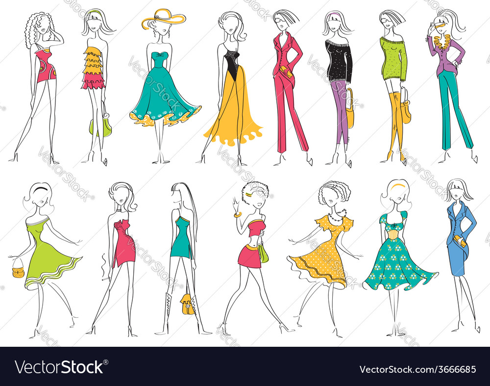 Women in modern fashion clothes isolated on white vector | Price: 1 Credit (USD $1)