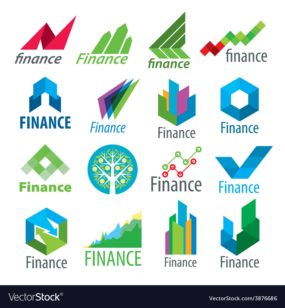 Big set of logos finance vector