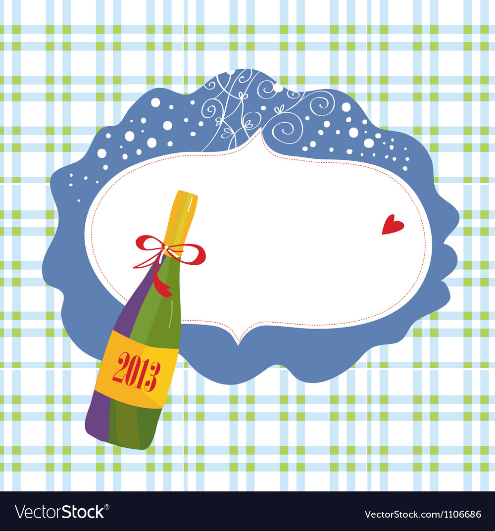 Bottle of champagne and frame vector | Price: 1 Credit (USD $1)