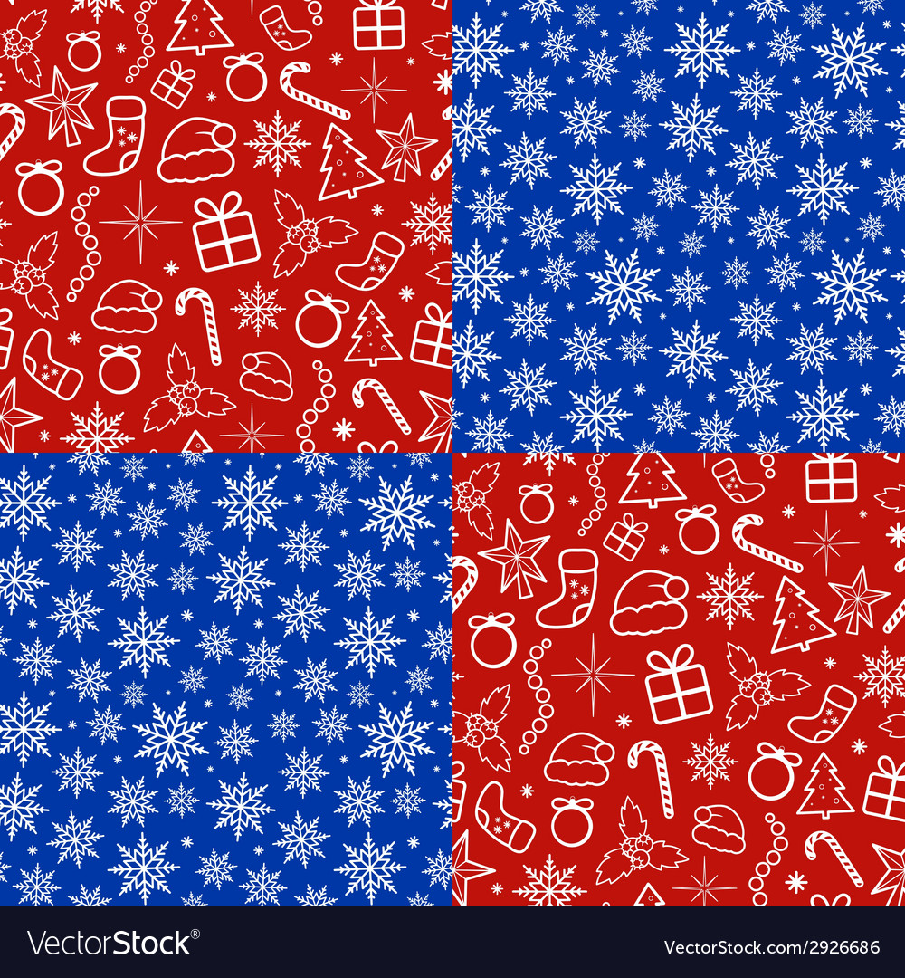 Christmas seamless patterns set vector | Price: 1 Credit (USD $1)