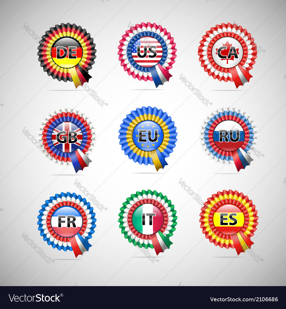 Collection of flag badges different countries vector | Price: 1 Credit (USD $1)