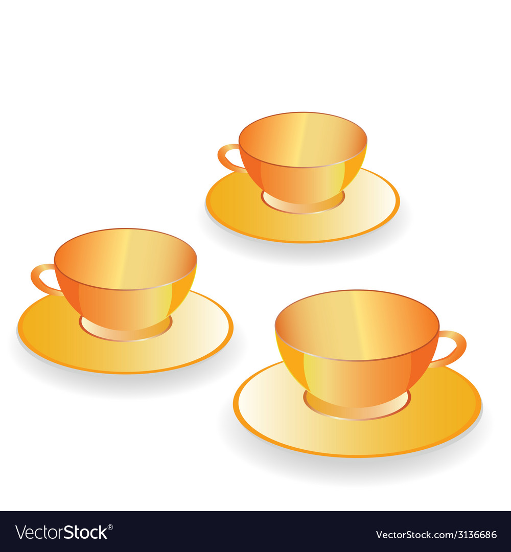 Cup for coffee gold set vector | Price: 1 Credit (USD $1)